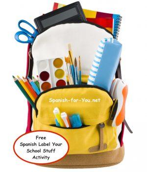 Free Spanish Label Your School Stuff Activity