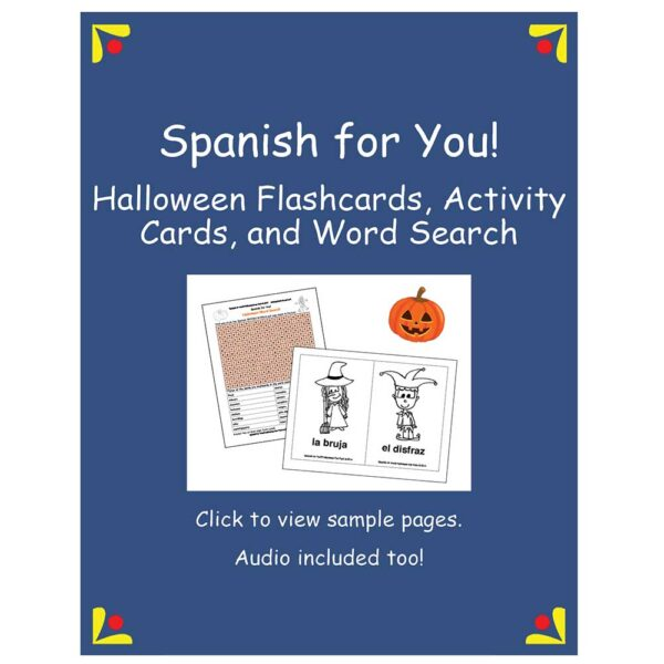 Spanish for You! Halloween Flashcards, Activity Cards, and Word Search